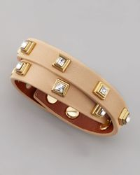 Tory Burch - Natural Crystal Studded Leather Bracelet  - Lyst