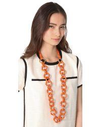 Tory Burch Orange Pop Snake Necklace