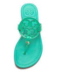 Tory Burch Green Miller Patent Sandals