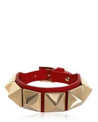 Valentino Red Medium Rockstud Leather Bracelet for men