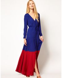 ASOS Green Maxi Dress in Colour Block with Long Sleeves