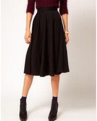 ASOS | Black Asos Midi Skirt in Ponti | Lyst