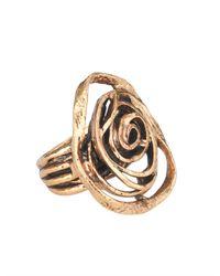 Oscar de la Renta | Metallic Swirl Cutout Flower Ring | Lyst