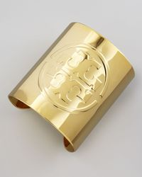 Tory Burch | Metallic Embossed Golden Logo Cuff | Lyst
