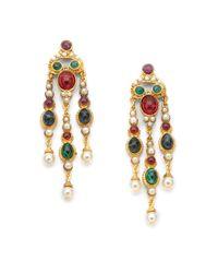 Ben-Amun | Metallic Byzantine Triple Chandelier Earrings | Lyst