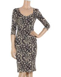 Dolce & Gabbana Gray Lace-print Stretch-silk Pencil Dress