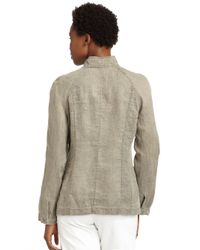 Eileen Fisher | Gray Stand Collar Linen Jacket | Lyst