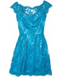 Issa Blue Silk-satin and Lace Dress