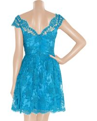 Issa - Blue Silk-satin and Lace Dress - Lyst