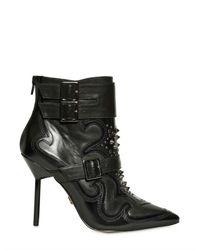 KG by Kurt Geiger Black 100mm Wyatt Studded Leather Belt Boots