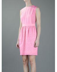 M Missoni - Pink Contrast Pleat Dress - Lyst