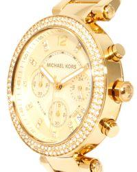 Michael Kors - Metallic Oversized Gold Crystal Chronograph Watch - Lyst