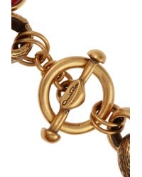 Oscar de la Renta - Metallic Goldtone Heart Charm Bracelet - Lyst