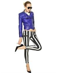 Balmain Blue Biker Nappa Leather Jacket