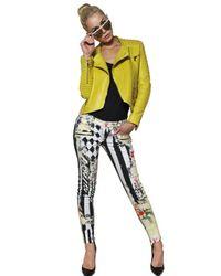 Balmain - Yellow Nappa Leather Biker Jacket - Lyst