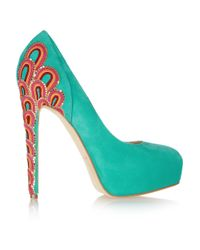 Brian Atwood | Blue Embroidered-heel Pump | Lyst