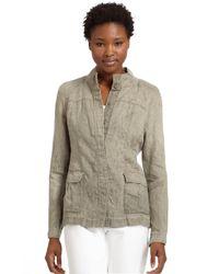 Eileen Fisher Natural Stand Collar Linen Jacket