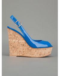 Gianvito Rossi Blue Cork Wedge Sandal