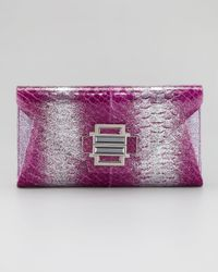 Kara Ross Purple Electra Ombre Glitter Python Clutch Bag Magenta