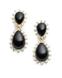Kenneth Jay Lane Black Enamel Rhinestone Teardrop Earrings