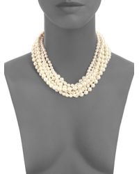 Kenneth Jay Lane Natural Faux Pearl Swarovski Necklace