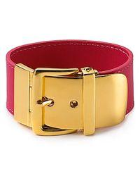 Lauren by Ralph Lauren - Red Leather with Buckle Bracelet - Lyst