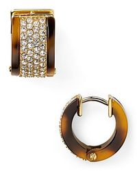 Michael Kors | Metallic Tortoise Shell Pave Huggie Earrings | Lyst