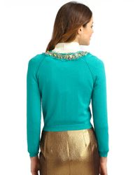 Boutique Moschino | Blue Beaded Collar Cotton Cardigan | Lyst