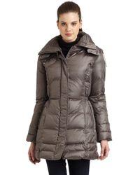 Rainforest Gray Shiny Puffer Coat