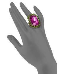 Sparkling Sage - Purple Crystal Rectangle Ring - Lyst