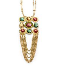 Sparkling Sage | Metallic Draped Chain Square Pendant Necklace | Lyst