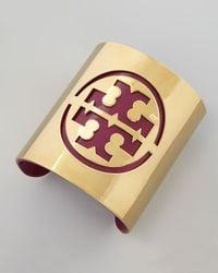 Tory Burch - Metallic Leather Stencil Logo Cuff Fuchsia - Lyst