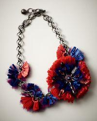 Lanvin Red Raffia Flower Choker Necklace