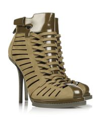 Alexander Wang Green Andi Suede and Glossed-leather Ankle Boots
