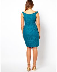 ASOS - Blue Lace Dress with Off The Shoulder - Lyst