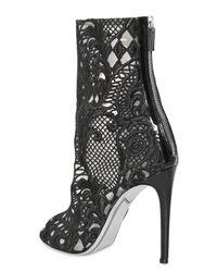 Balmain Black 110mm Guipure Lace Open Toe Boots