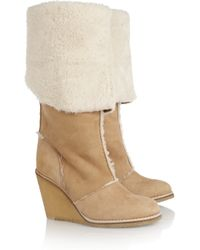 Chloé Natural Shearling Wedge Boots