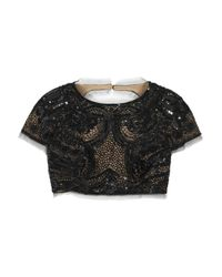 Emilio Pucci Black Sequined Tulle Cropped Top