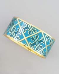 Tory Burch | Enamel Tpattern Bangle Blue | Lyst