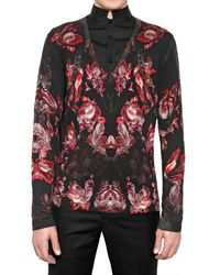 Alexander McQueen Black Flower Fine Merino Wool Knit Sweater for men