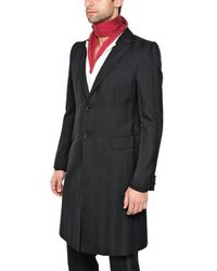 Alexander McQueen Black Tone On Tone Striped Wool Coat for men