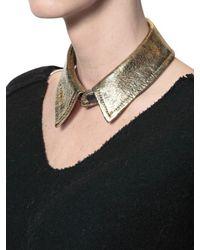 American Retro Metallic Leather Collar