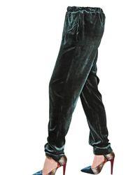 Antonio Marras Green Viscose Silk Velvet Trousers