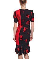 Antonio Marras Red Printed Techno Crepe De Chine Dress