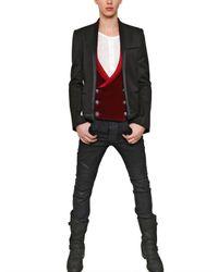 Balmain Black Wool Gabardine Satin Piping Jacket for men