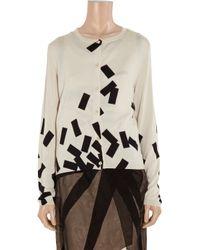 Bottega Veneta Black Brickprint Cashmere and Silkblend Cardigan