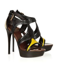 Burberry Prorsum Black Raffia and Patent-leather Sandals