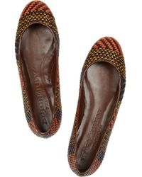 Burberry Prorsum Brown Woven Leather and Raffia Ballet Flats