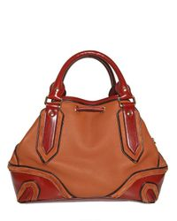 Burberry Prorsum Brown Small Earlsburn Leather Top Handle