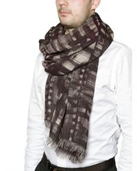 Contileoni Purple Printed Wool Gauze Scarf for men